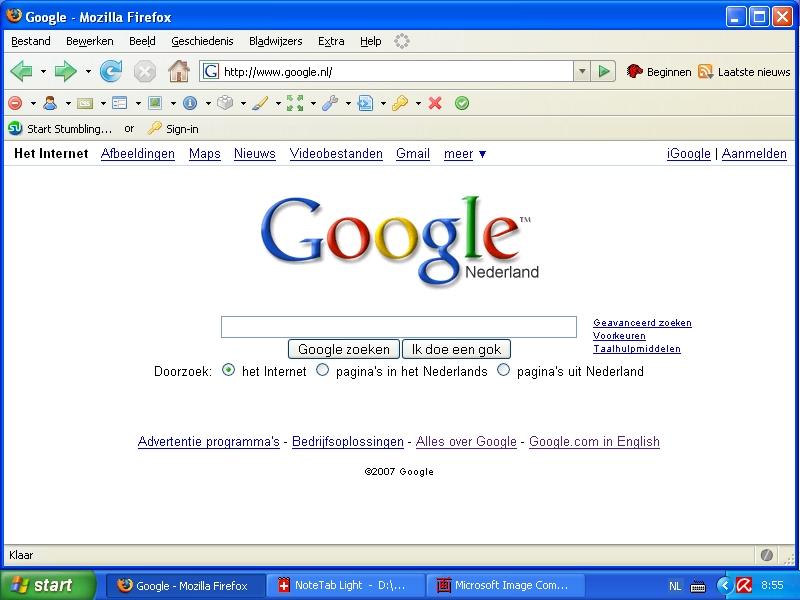 Google toont licht gewijzigde hoofdpagina nu ook voor Google.nl