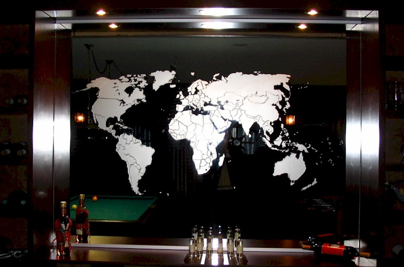Sandblasted image of world map on mirror