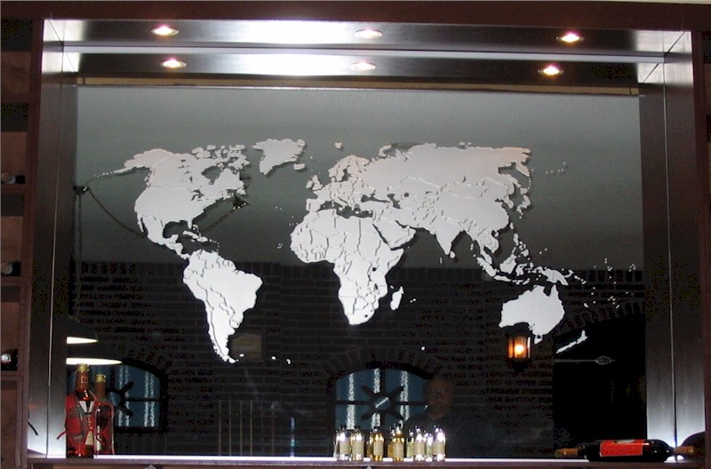 mirror wall mirrors etched world map on mirror
