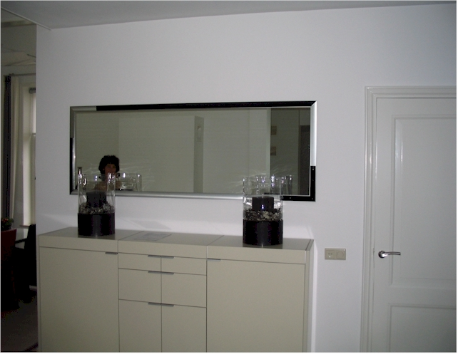 Moderna Hall 2 - Modern mirror with aluminium frame and black wooden parts