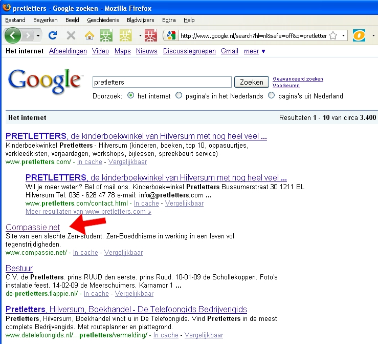 Google result for pretletters - spam still in high rankings